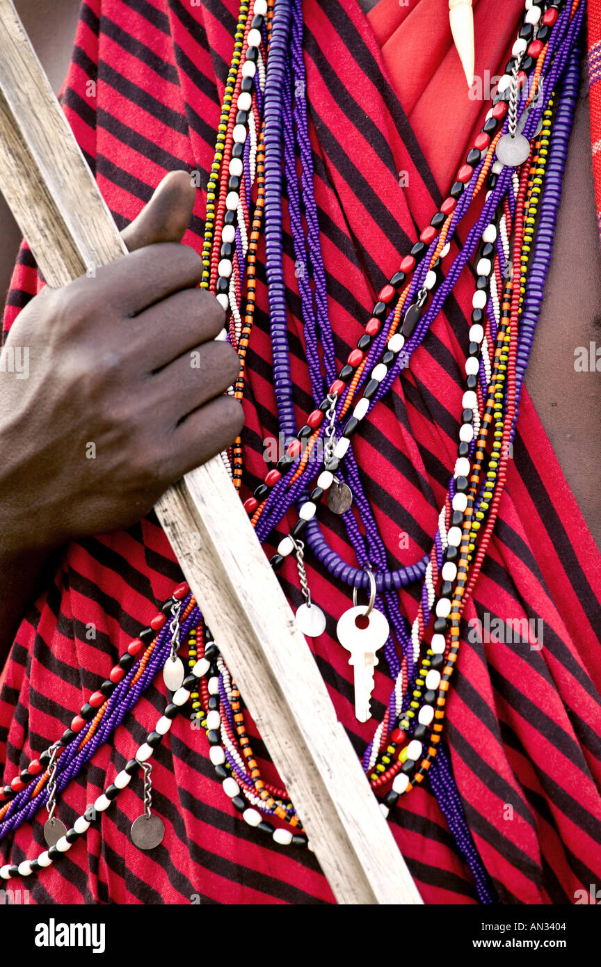 Kenya Close up of jewellery and weapons Maasai tribesman Masai Mara National Reserve Stock Photo