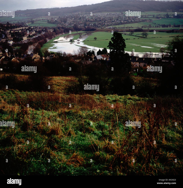 River Avon in flood showing former meander curves Batheaston Somerset England Stock Photo