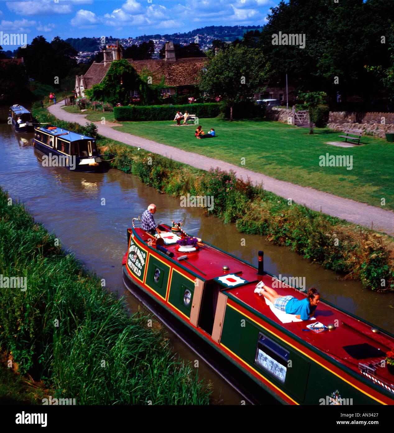 Leisure narrow boats Kennet and Avon canal Bathampton Somerset England - Stock Image