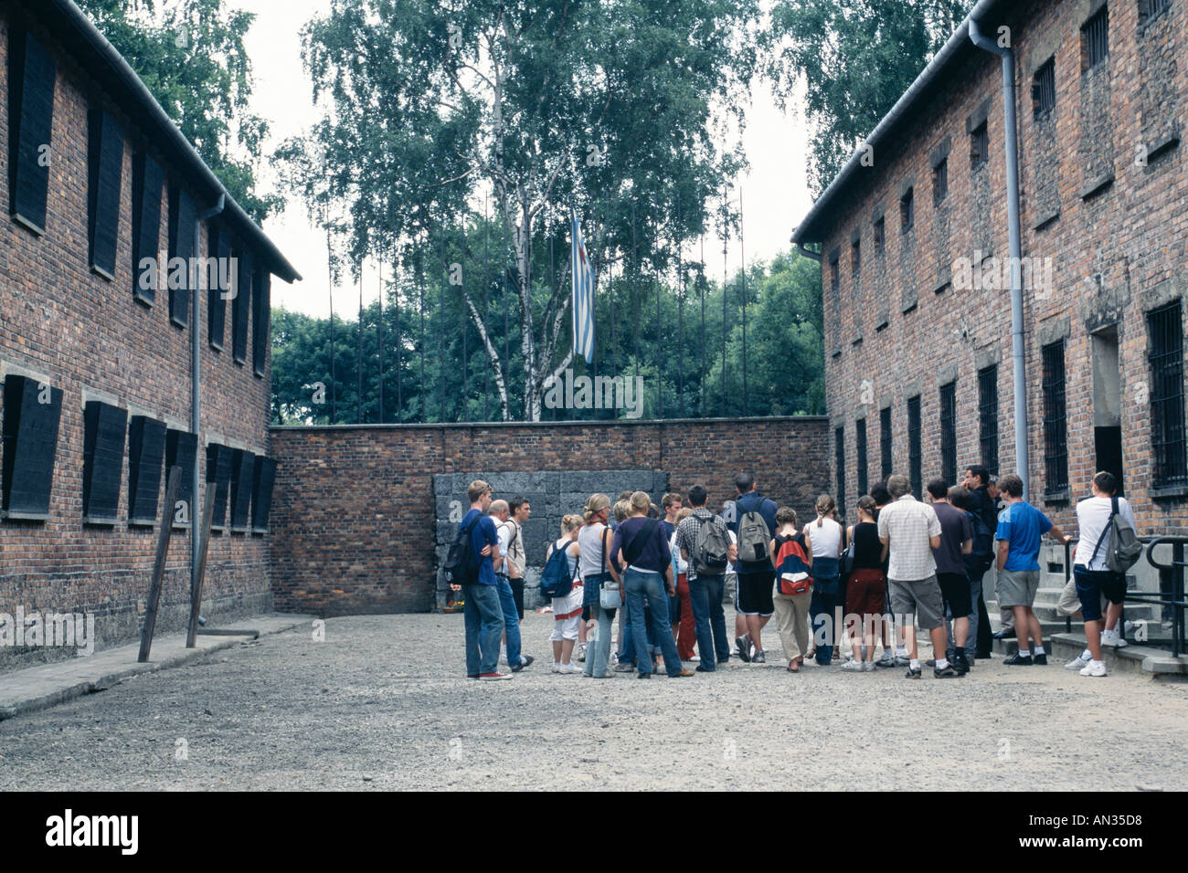 Auschwitz, now a state museum; beyond the tourists is the camp's Wall of Death, a place of floggings and executions Stock Photo