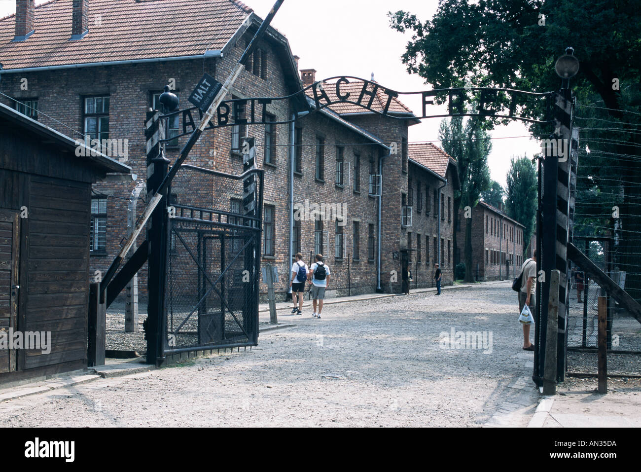 Arbeit Macht Frei: work sets you free; infamous words above the entry to Auschwitz, the Nazi concentration camp. now a museum - Stock Image
