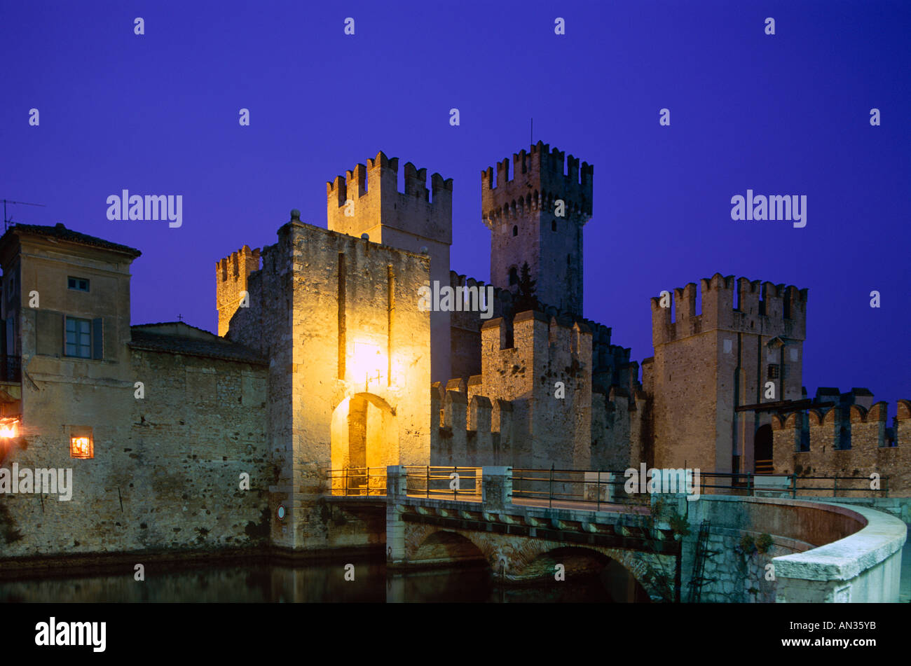 Lake Garda / Rocca Scaligera Castle / Night View, Sirmione, Veneto, Italy - Stock Image