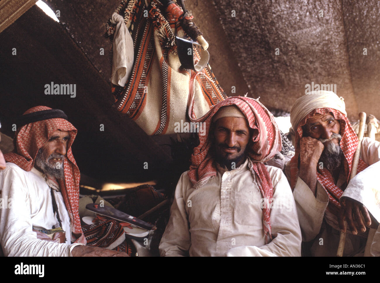 Saudi Arabia, Empty Quarter. Beduin of the al Murrah tribe rest in their tent. They call themselves Arabs of the Arabs. - Stock Image