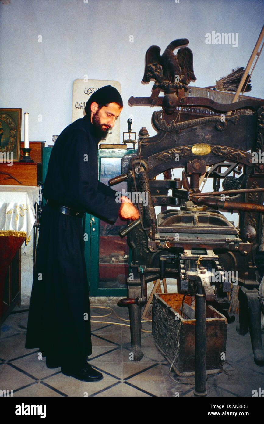 Lebanon St Antoine Mar Kozhaya Monastry Maronite Monk Early Printing Press from Scotland - Stock Image