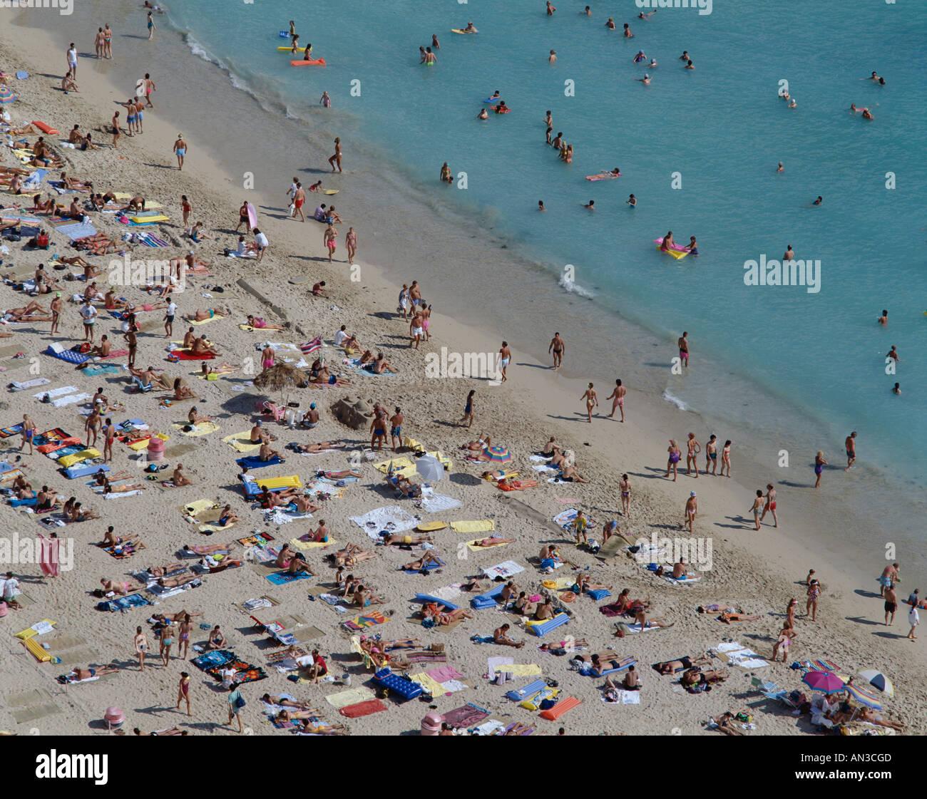 Waikiki Beach / Crowds on Beach / Aerial, Honolulu, Hawaii / Oahu, USA - Stock Image