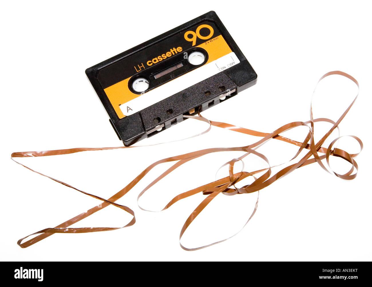 Damaged audio casette tape - Stock Image