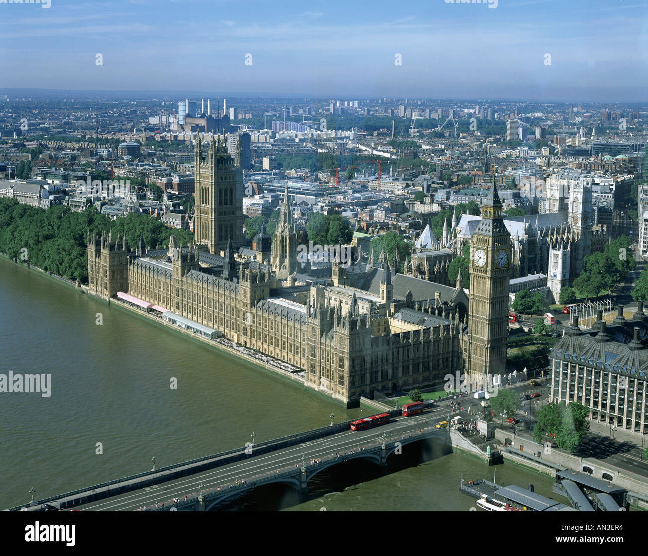 City Skyline / Thames River & Houses of Parliament / View from London Eye, London, England Stock Photo