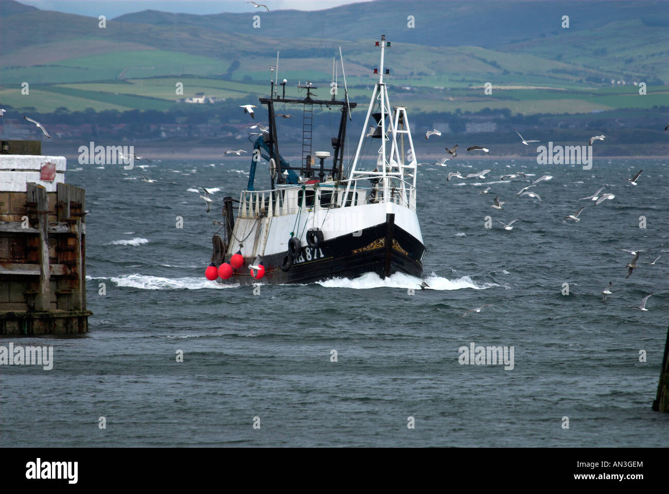 Fishing Boat Returning To Troon Harbour Ayrshire Scotland UK Stock Photo