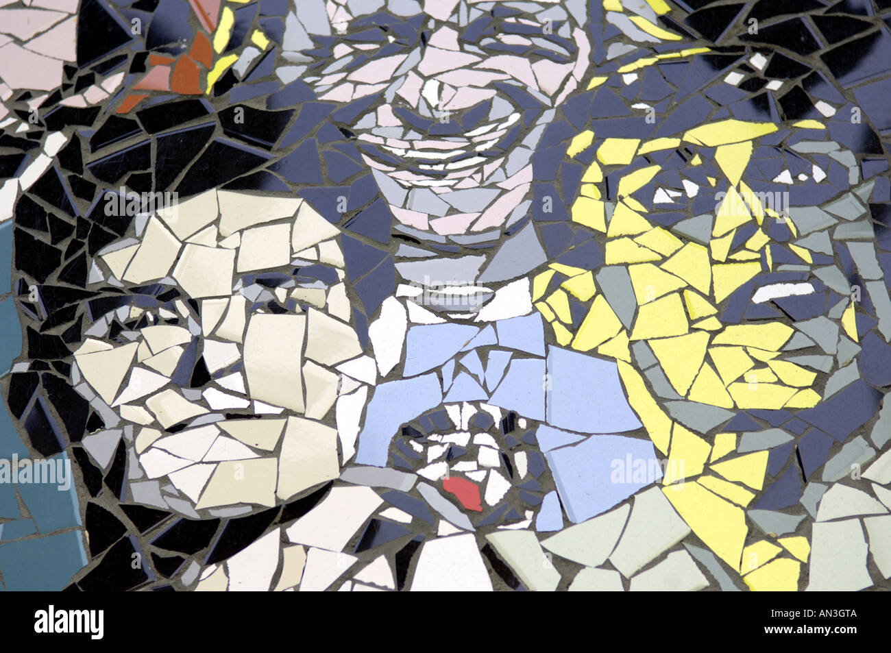 morrisey bez happy mondays groups bands the smoths black grape characters celebs celebrities wall mosaic manchester legend alter - Stock Image