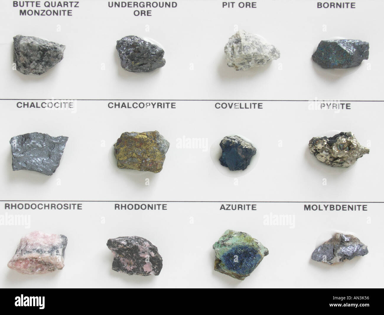 Various Rocks and Minerals of Butte Montana - Stock Image