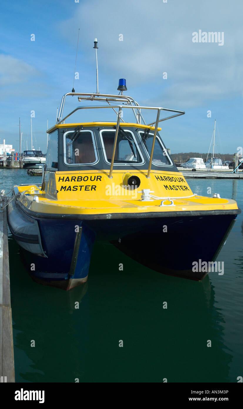 Warsash Harbour Master Boat in Warsash Harbour Hampshire England Britain UK Stock Photo