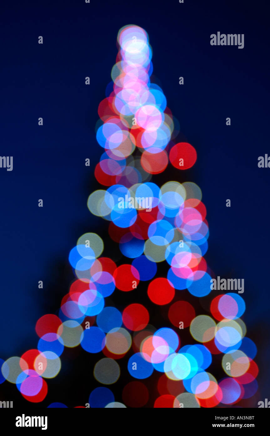 Out of focus Christmas tree lights - Stock Image