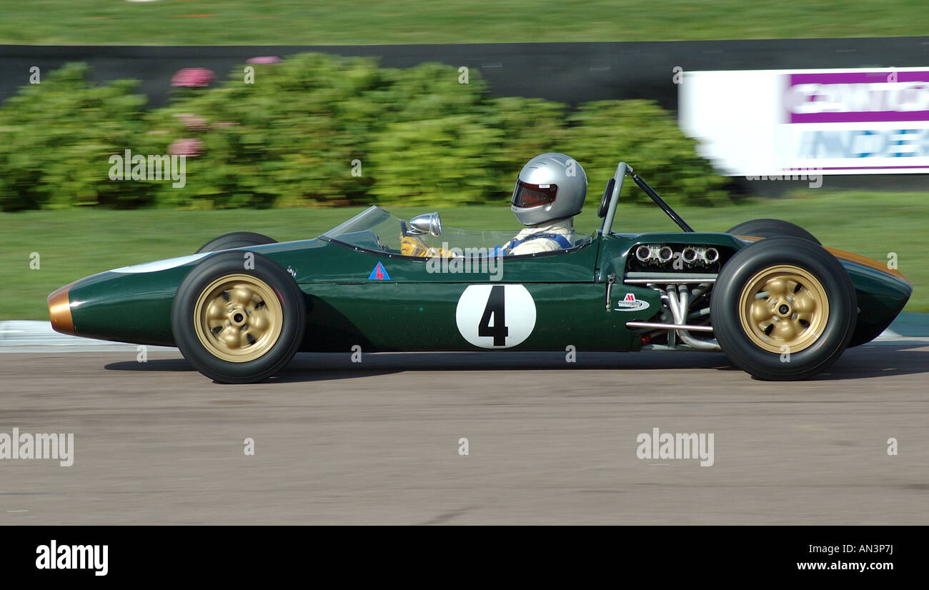 Brabham Ford BT2 Racing at Goodwood Sussex England UK - Stock Image
