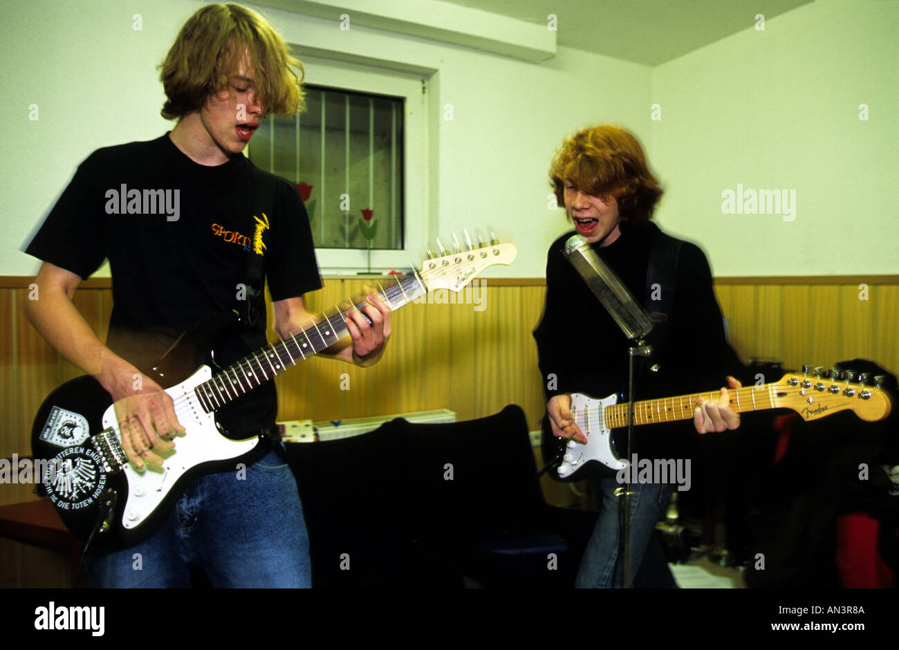 Amature pop band practice - Stock Image