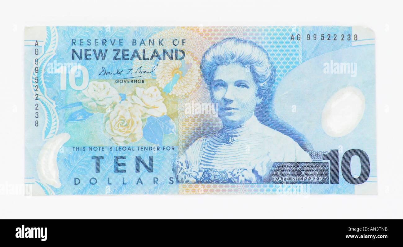New Zealand Ten Dollar Note - Stock Image