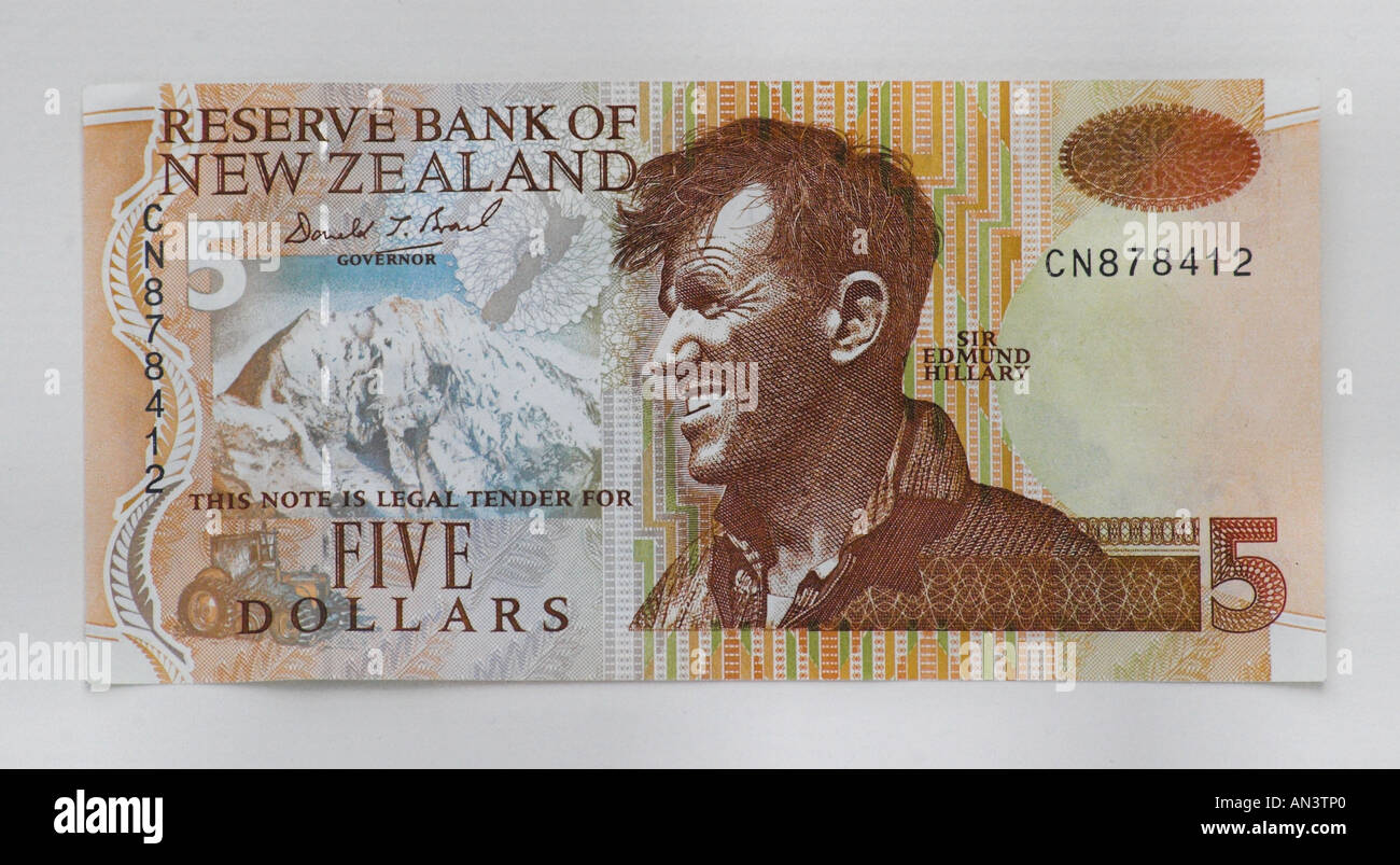 New Zealand Five Dollar Note - Stock Image