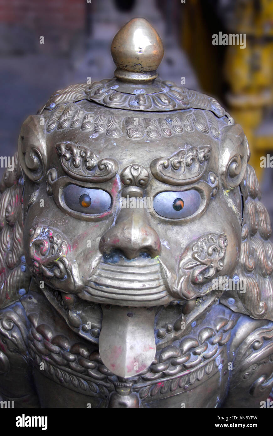 Lion statue in Patan, Nepal - Stock Image