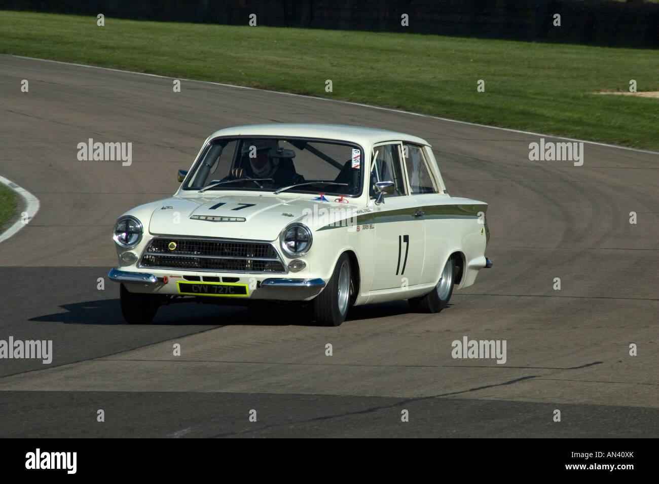 Lotus Cortina Racing Goodwood Sussex UK Stock Photo