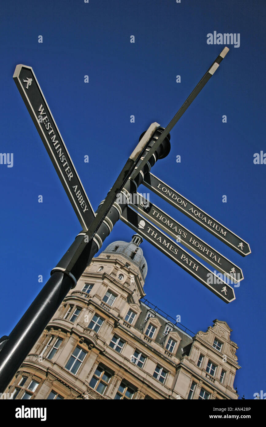 street signs history sights london blue sky england tourism tourist sights sightseeing uk - Stock Image