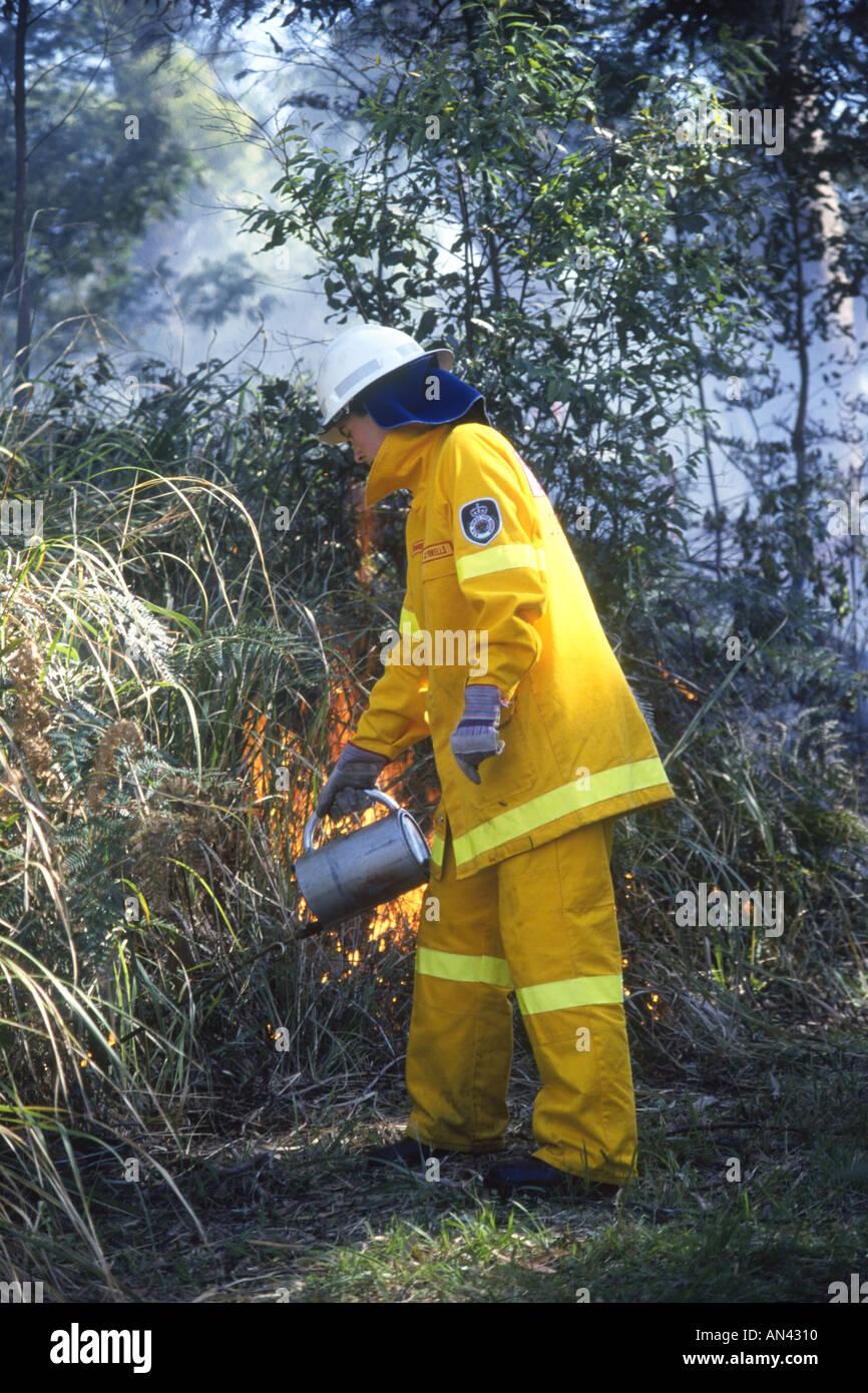 Volunteer Rural Fire Service Firefighter doing some backburning, Australia. Stock Photo