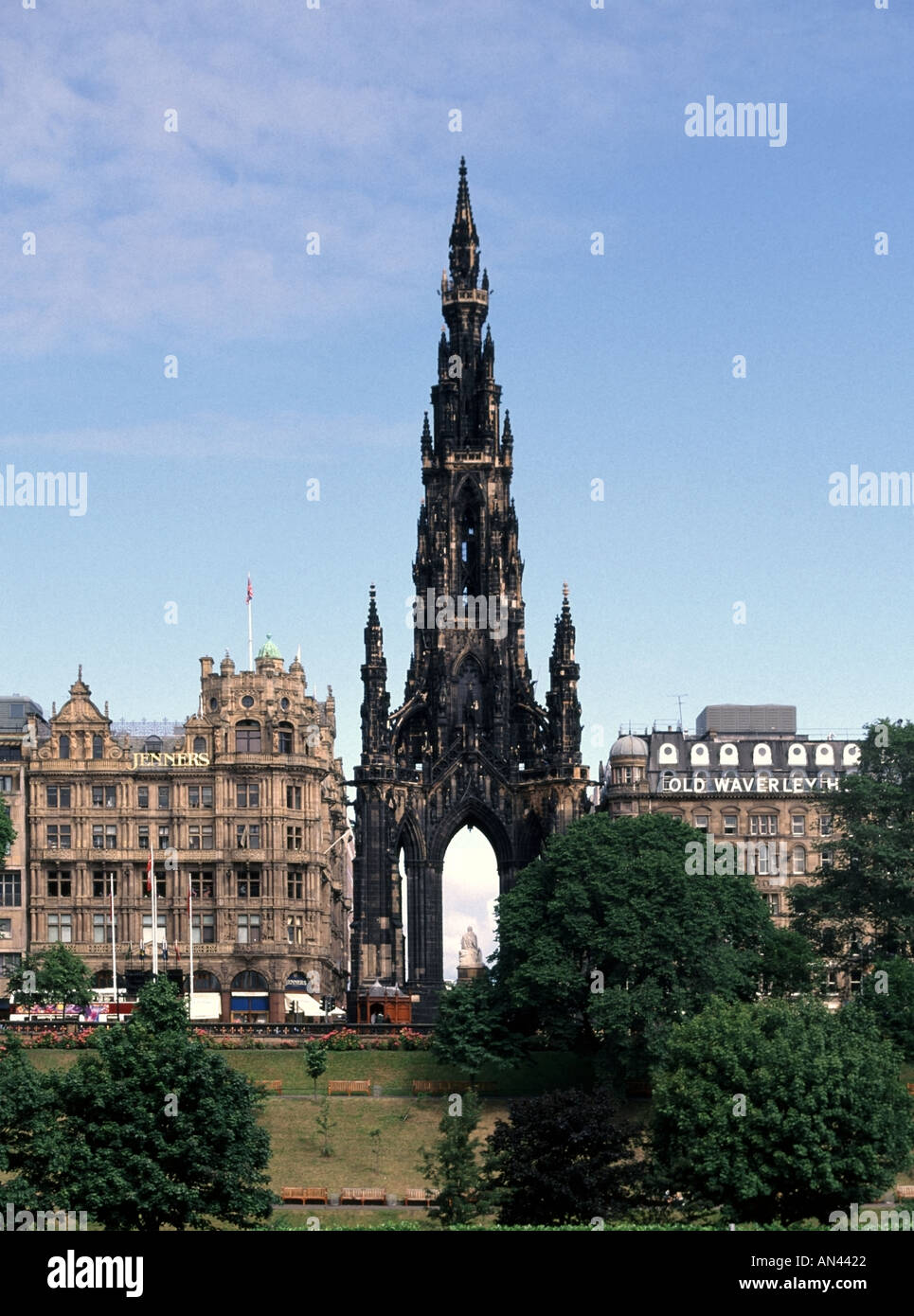 City of Edinburgh monument to Sir Walter Scott with store and hotel on Princes Street Scotland UK - Stock Image