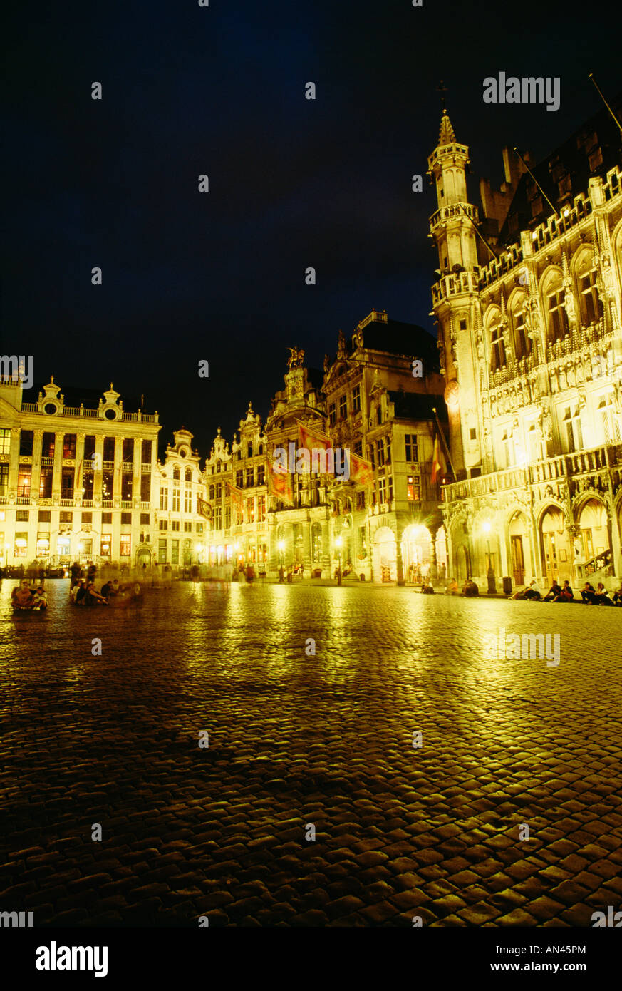 Grand Place at night, Brussels, Belgium - Stock Image