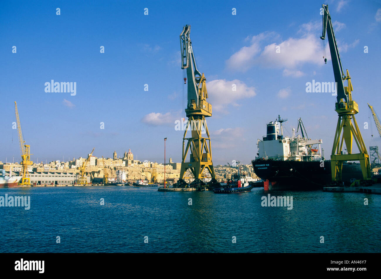 Harbour, Valletta, Malta with the old city behind Stock Photo