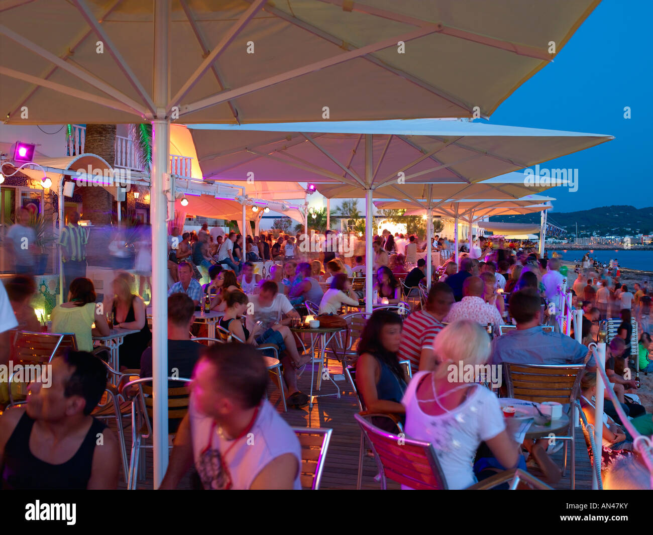 Ibiza San Antoni Sunset Strip Cafe Del Mar - Stock Image
