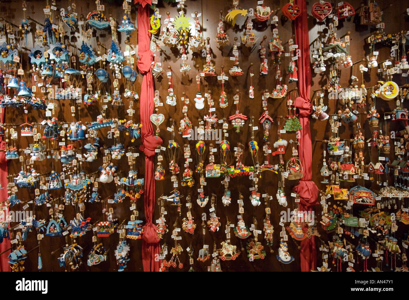 wooden toys and christmas tree decorations in a shop in bruges belgium stock image - Christmas Tree Toy Decorations