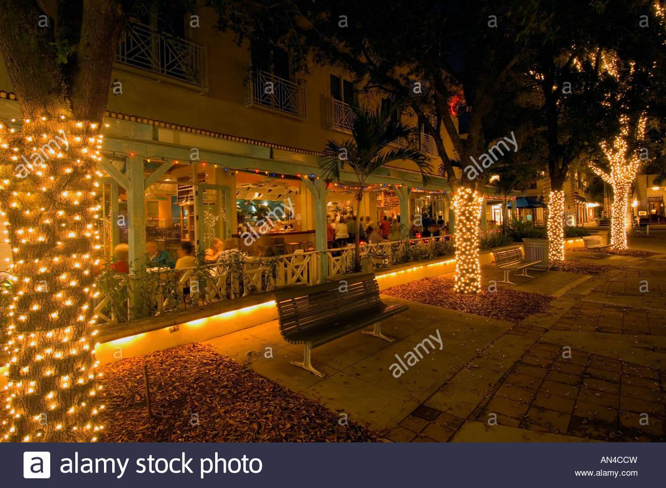 Florida Naples 5th Avenue Restaurant At Night Stock Photo