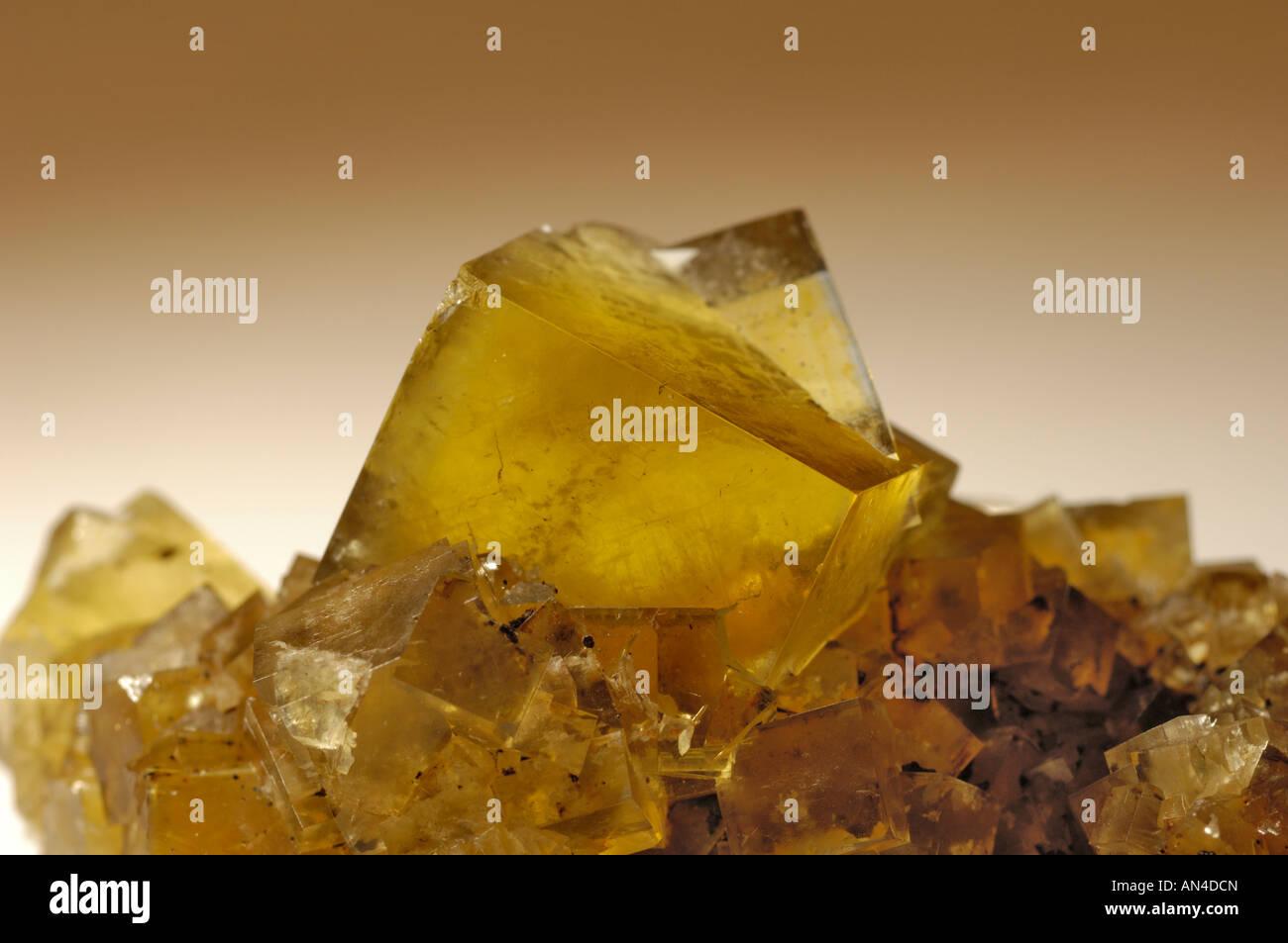 Mineral specimen, Fluorite twin, Hilton Mine, Scordale, Cumbria, England - Stock Image