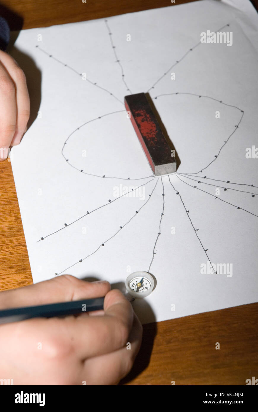 Drawing magnetic field lines around a bar magnet with a plotting compass. - Stock Image