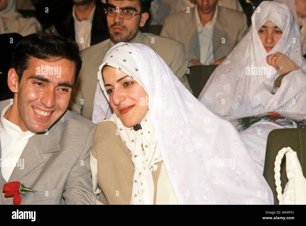 Couples at a mass wedding in Tehran Iran - Stock Image