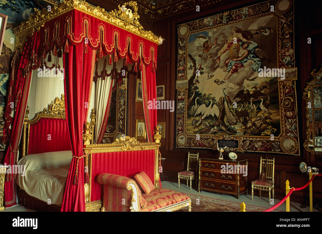 Queen Victoria s Bed Burleigh House, Stamford, UK - Stock Image