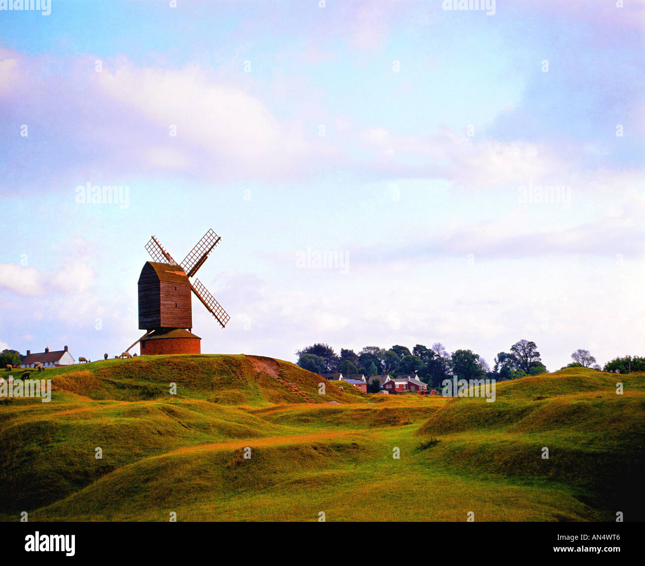 Windmill at Brill, on elevated mound. (Near Thame Oxfordshire England) - Stock Image