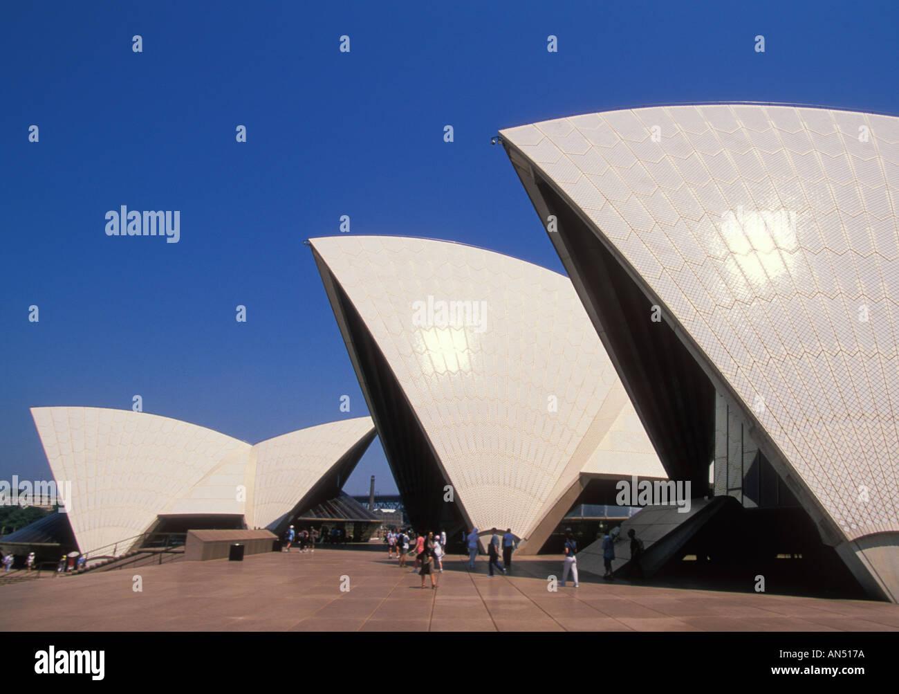 Individual halls of the Sydney Opera House Bennelong Point Opera Quay Sydney NSW New South Wales Australia - Stock Image