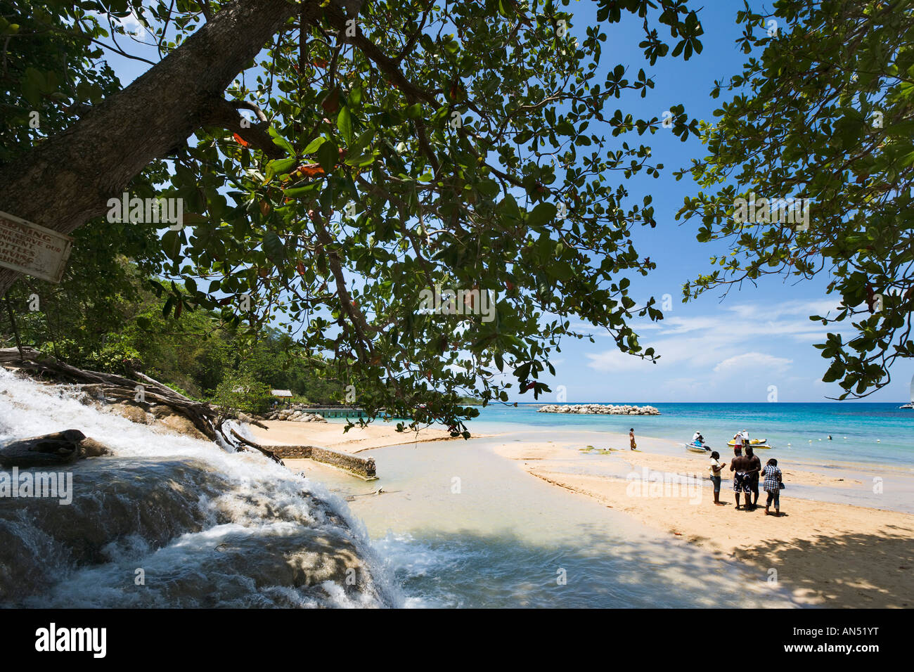 Outlet to the sea, Dunns River Falls, Ocho Rios, Jamaica, Caribbean, West Indies - Stock Image