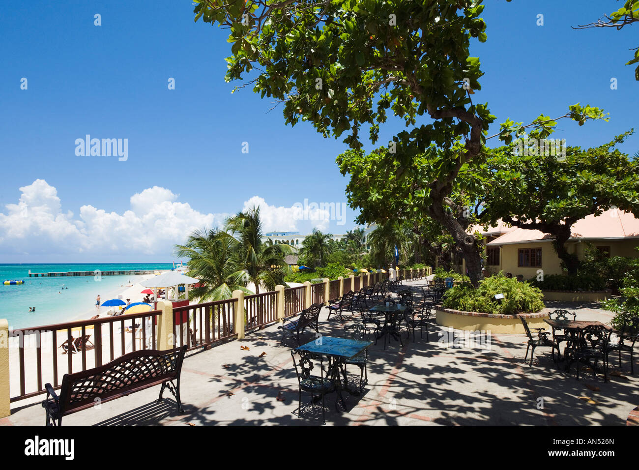 Cafe at Doctors Cave Beach, Montego Bay, North Coast, Jamaica ,Caribbean, West Indies - Stock Image