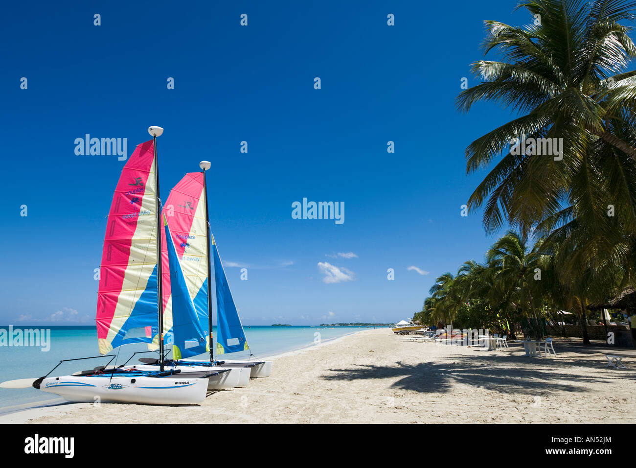 Beach outside Couples Swept Away Resort, Seven Mile Beach, Long Bay, Negril, Jamaica ,Caribbean, West Indies - Stock Image