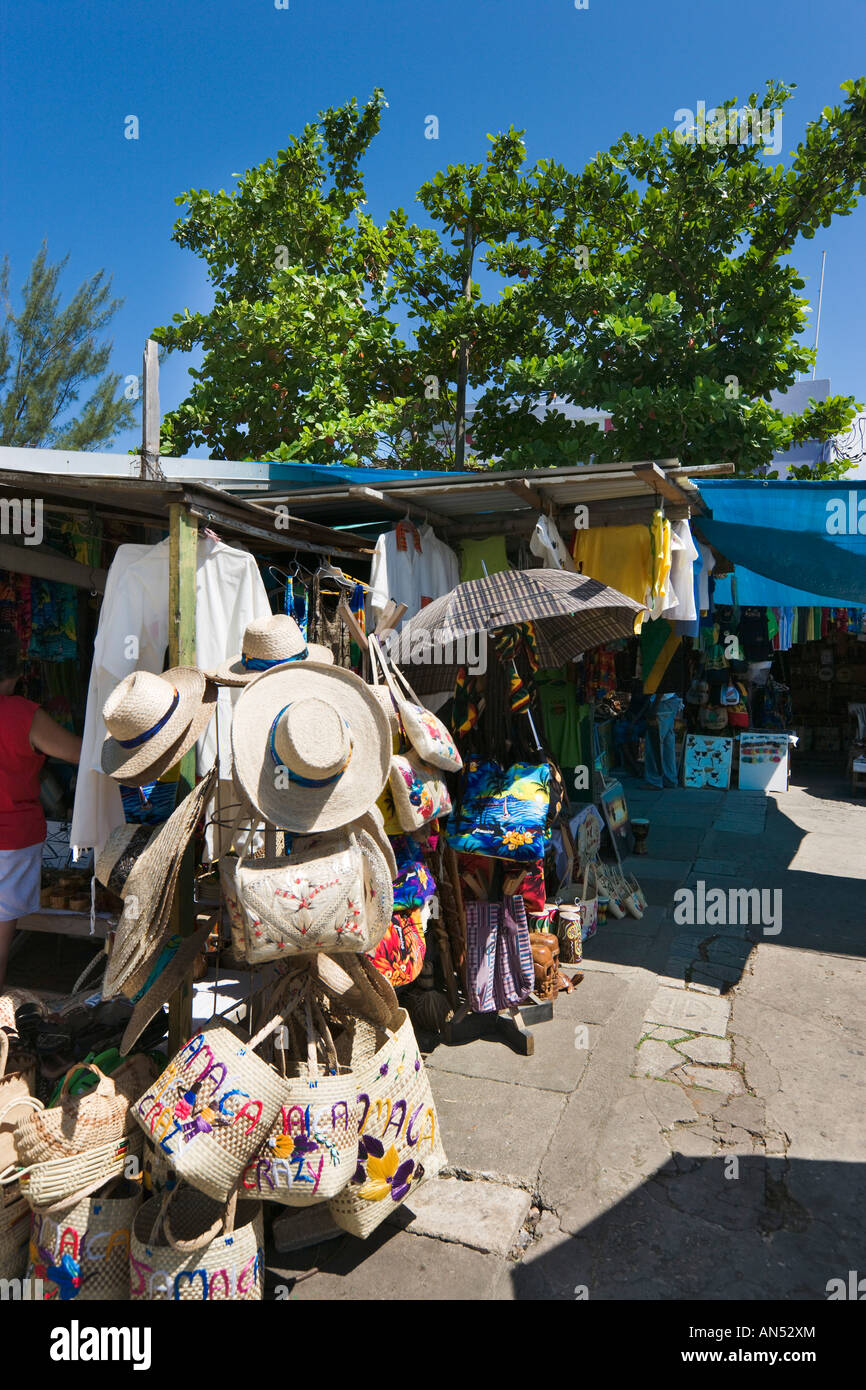 Local Market Stalls at the Craft Market, Ocho Rios, Jamaica, Caribbean, West Indies - Stock Image
