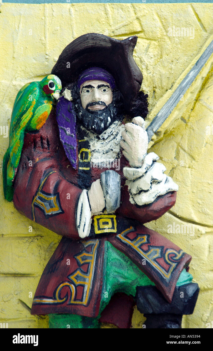 Pirate statue outside Blackbeards pirate shop in Goergetown in the Grand Cayman Islands - Stock Image