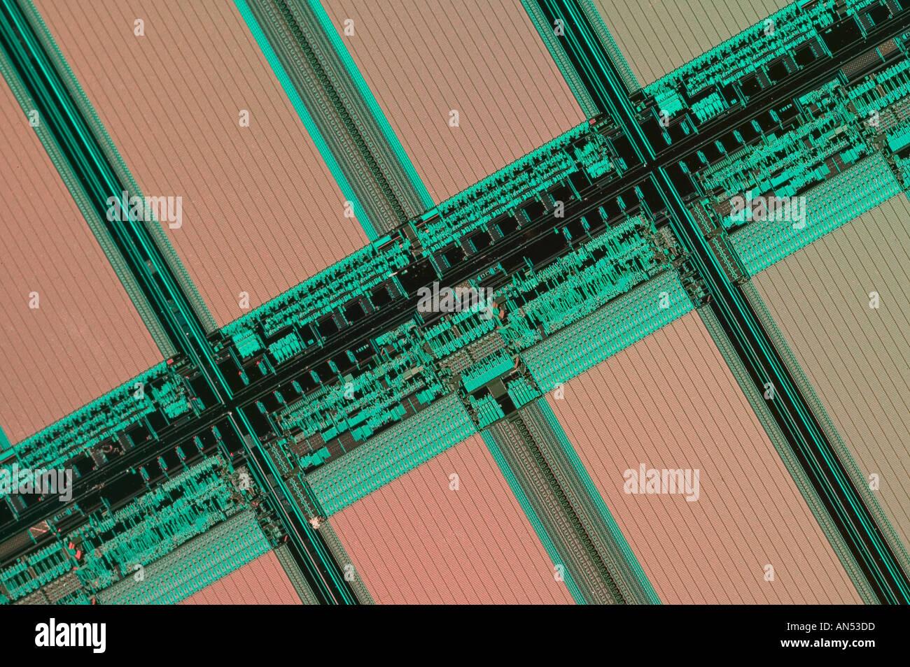 Closeup of computer chips - Stock Image