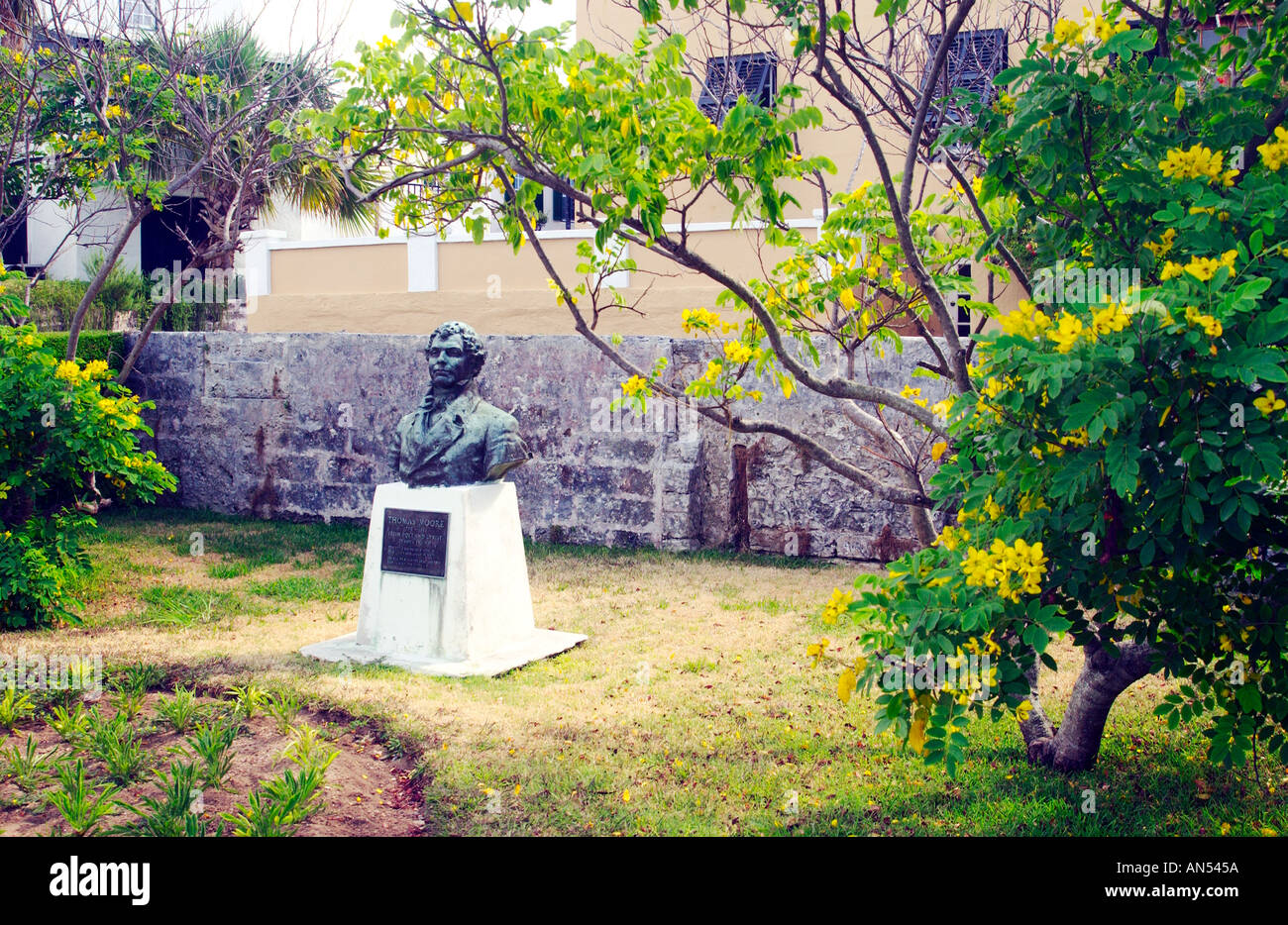 Irish poet Thomas Moore monument in St Georges Bermuda - Stock Image