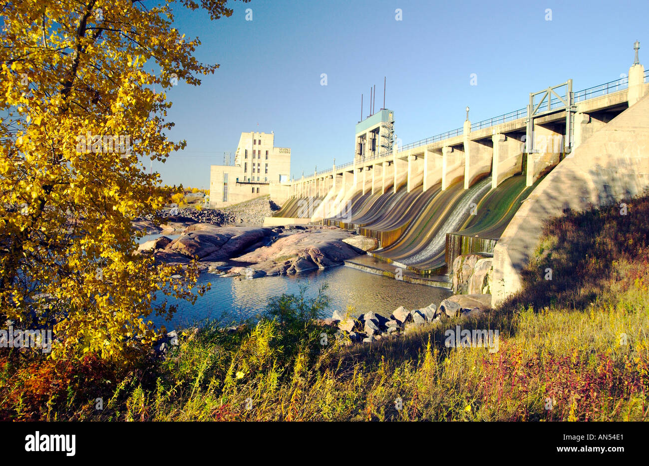 The Seven Sisters power generating station in fall in the Whiteshell Provincial Park Manitoba Canada Stock Photo