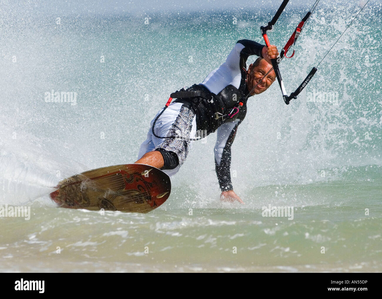 man enjoing kitesurfing - Stock Image