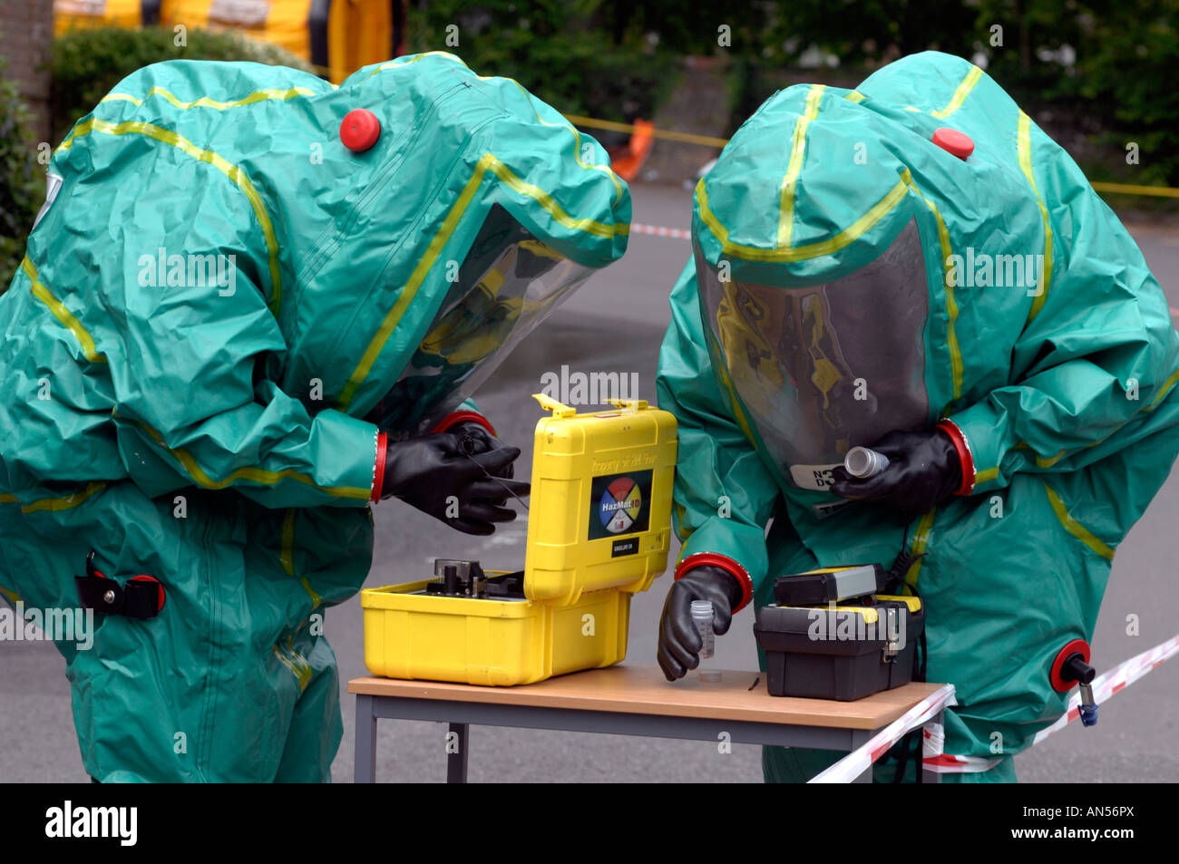 Emergency services take part in a chemical or biological attack exercise, Britain, UK Stock Photo