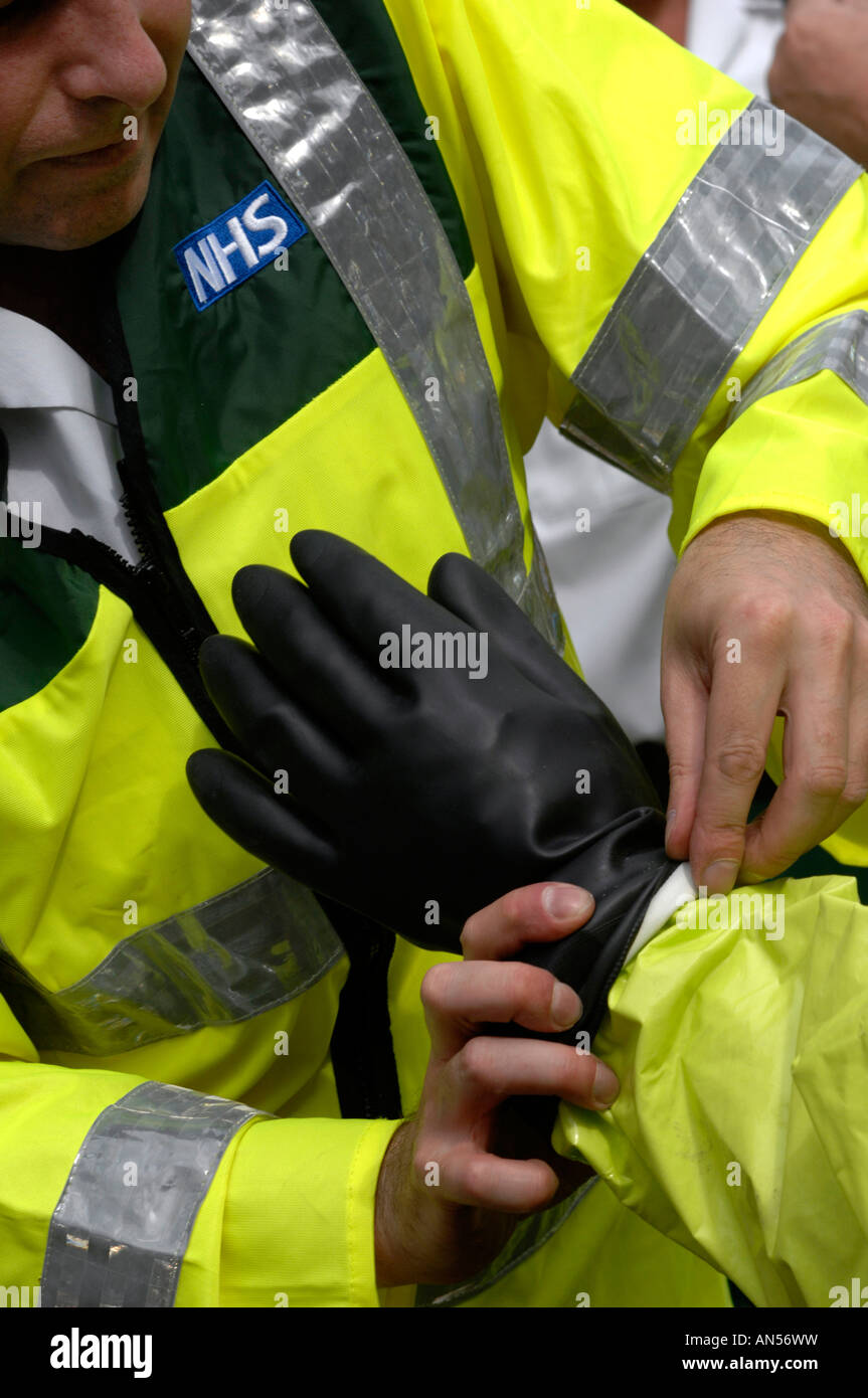 Emergency services take part in a chemical or biological attack exercise, Britain, UK - Stock Image