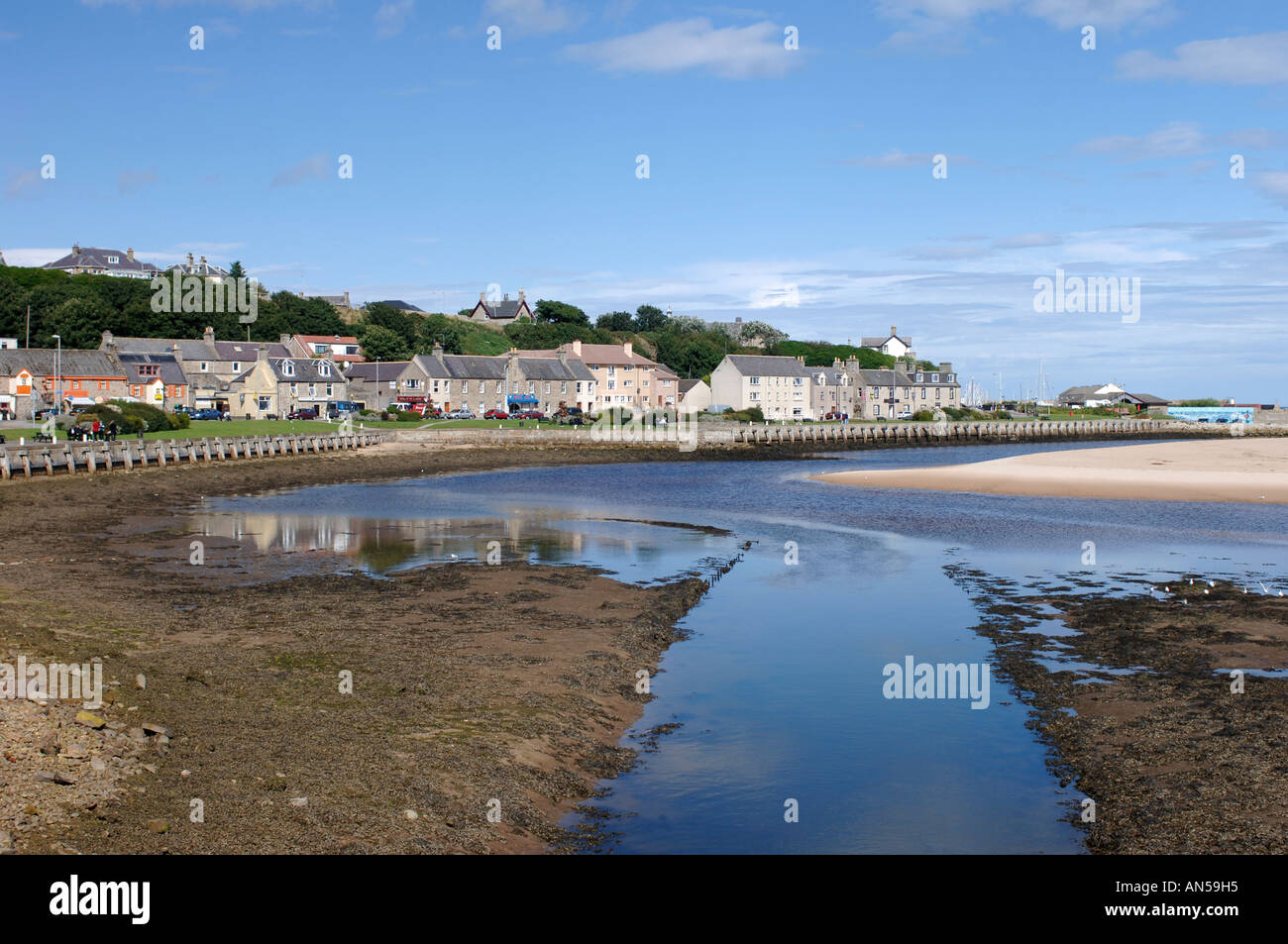 Lossiemouth seafront town from the River Lossie, Morayshire.  XPL 3225-321 - Stock Image