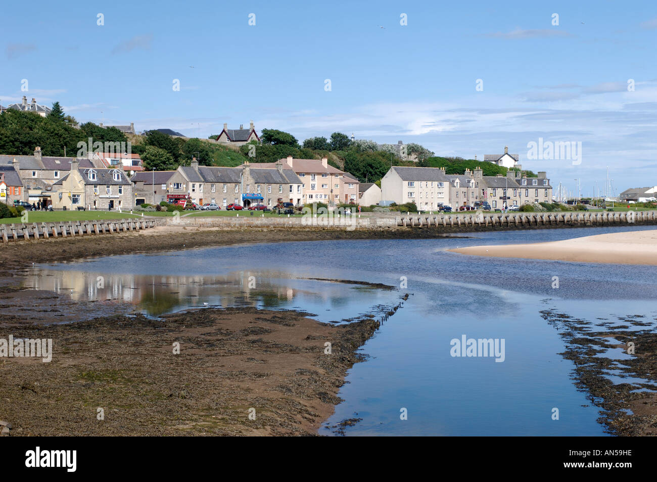Lossiemouth seafront town from the River Lossie, Morayshire.  XPL 3226-321 - Stock Image