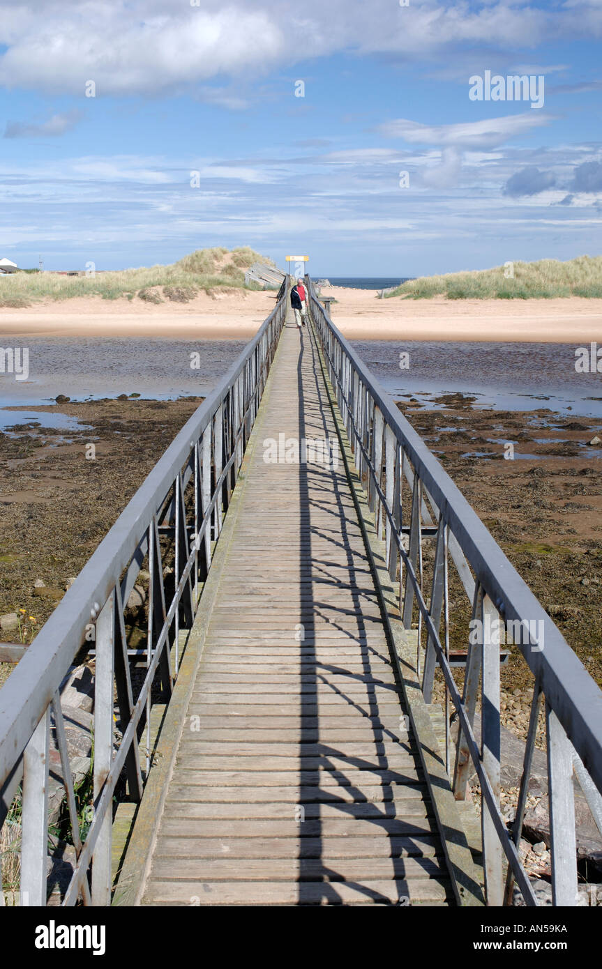 Lossiemouth footbridge to the sandy beach and dune system Morayshire, Scotland.  XPL 3230-321 - Stock Image